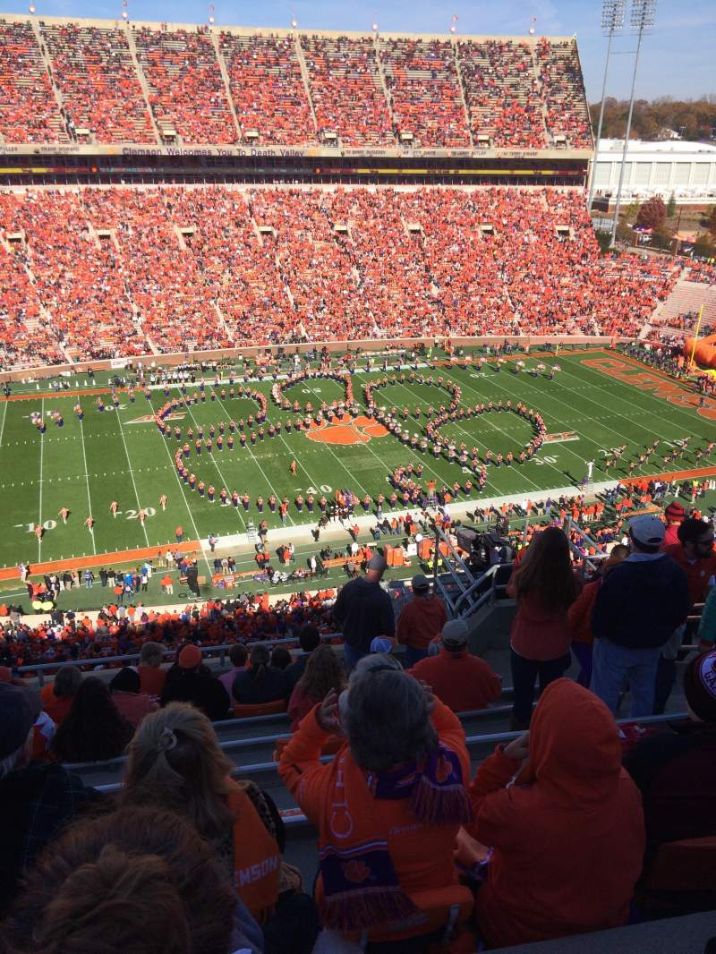 Seating view for Memorial Stadium, Clemson Section TDG Row H