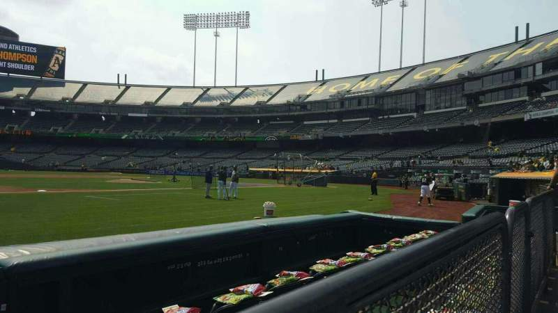Seating view for Oakland Alameda Coliseum Section 123 Row 1 Seat 13