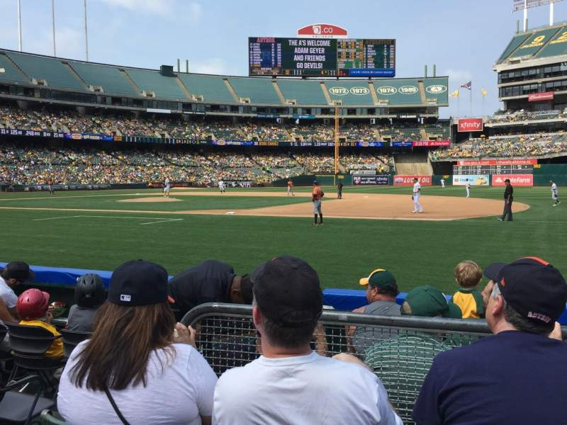 Seating view for Oakland Alameda Coliseum Section 110 Row 3 Seat 6