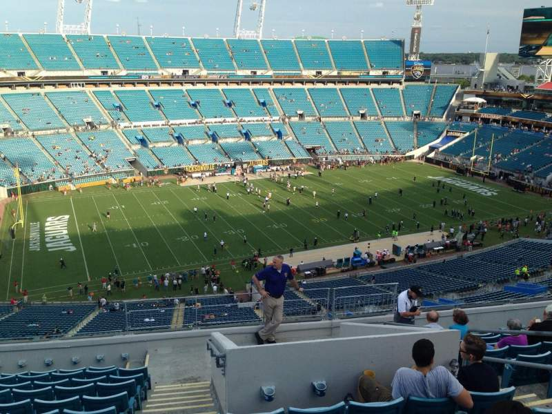 Seating view for EverBank Field Section 213 Row G Seat 18