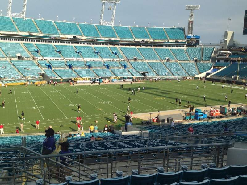 Seating view for EverBank Field Section 216 Row J Seat 12