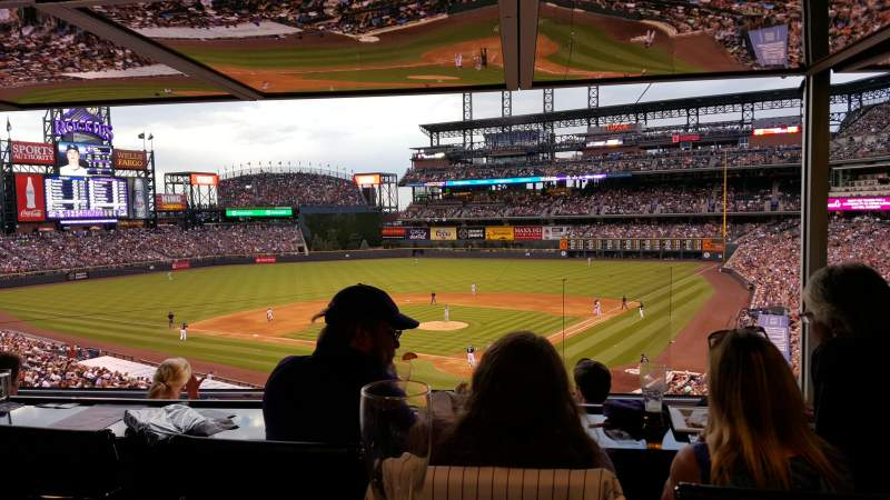 Seating view for Coors Field Section Press Club 3 Row R Seat 1