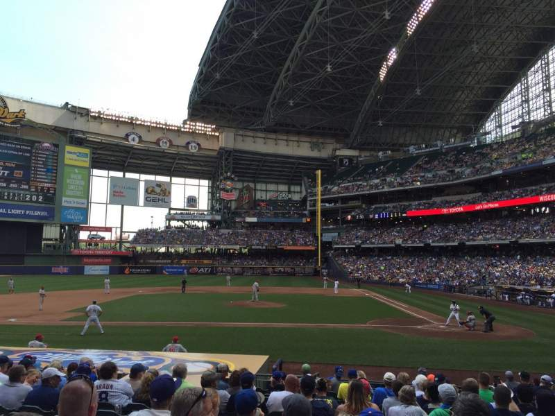 Seating view for Miller Park Section 121 Row 16 Seat 5