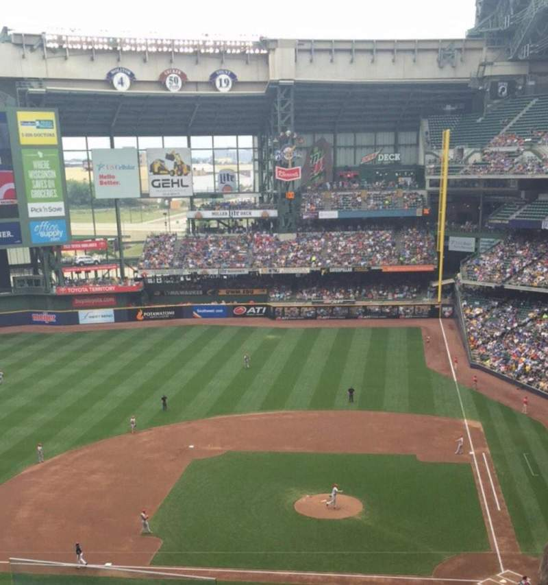 Seating view for Miller Park Section Tb427 Row 6 Seat 6