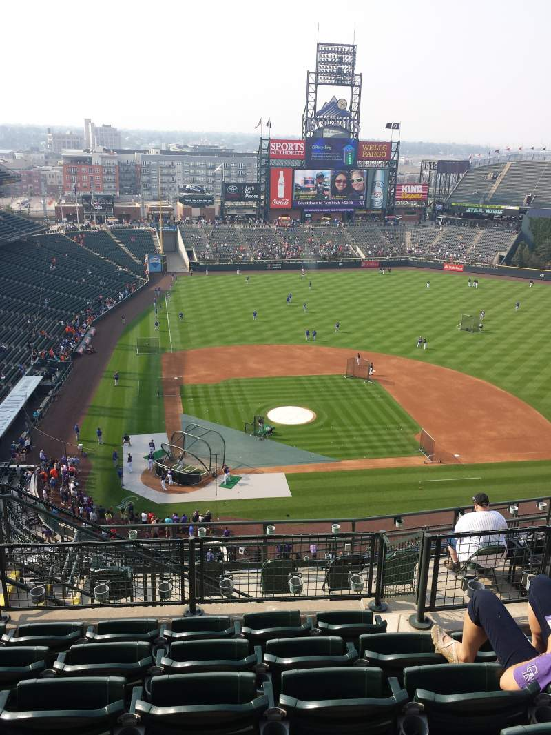 Seating view for Coors Field Section U326 Row 15 Seat 17