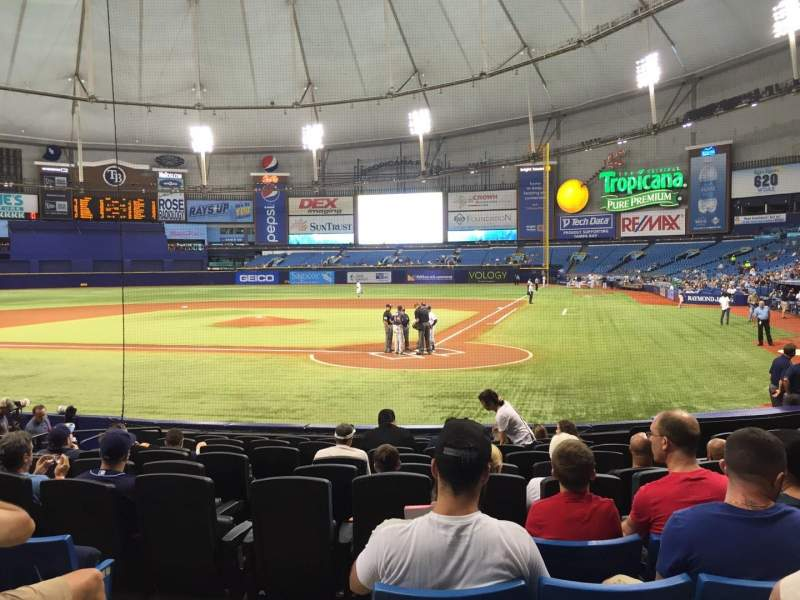 Seating view for Tropicana Field Section 105 Row Q Seat 1