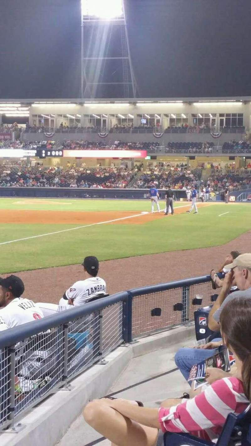 Seating view for First Tennessee Park Section 105 Row F Seat 21