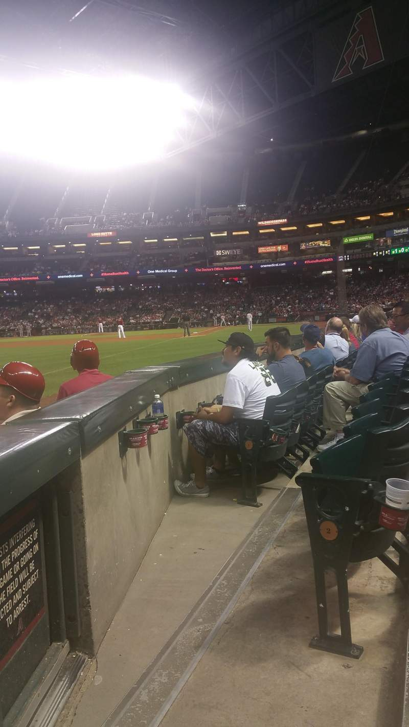 Seating view for Chase Field Section 134 Row 3 Seat 1