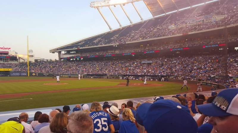 Seating view for Kauffman Stadium Section 120 Row H Seat 1