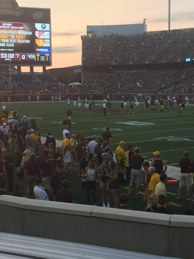 Seating view for TCF Bank Stadium Section 133 Row 8 Seat 1