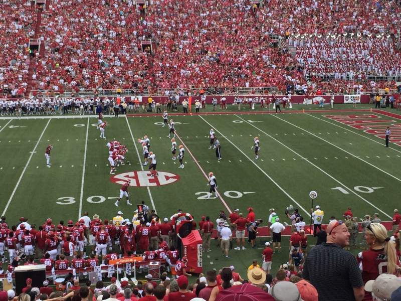 Seating view for Razorback Stadium Section 103 Row 29 Seat 18
