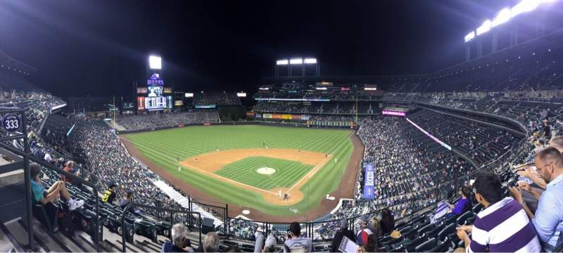 Seating view for Coors Field Section 332 Row 7 Seat 13