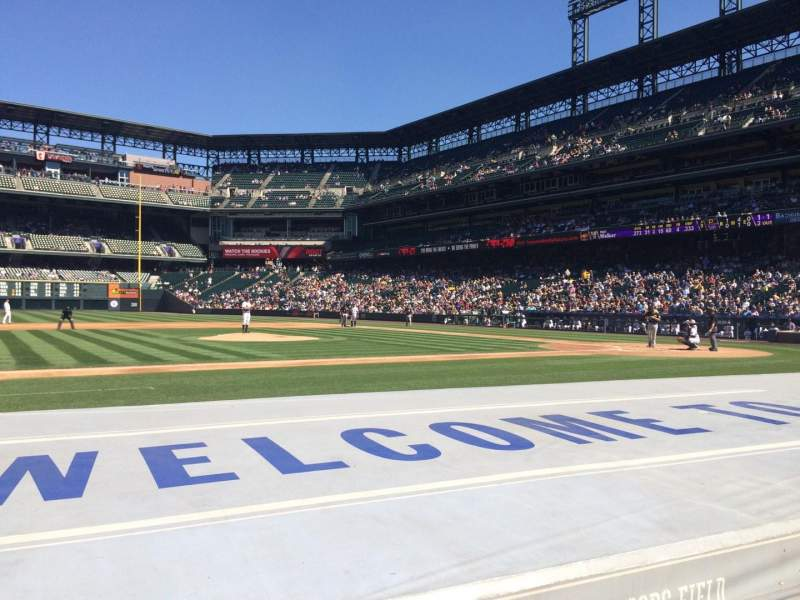 Seating view for Coors Field Section 139 Row 6 Seat 1