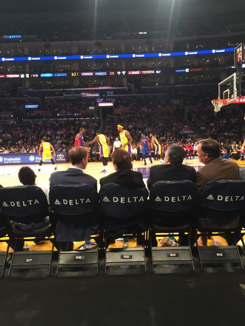 Seating view for Staples Center Section 110CT Row B Seat 15