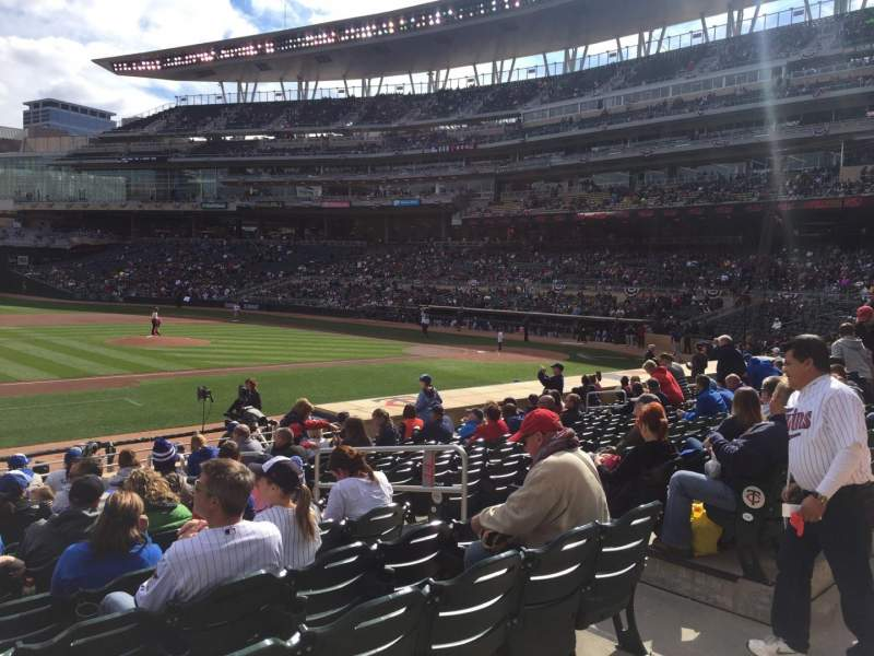 Seating view for Target Field Section 120 Row 1 Seat 20