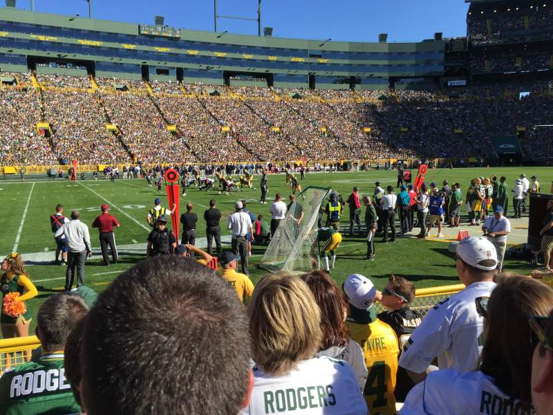 Seating view for Lambeau Field Section 114 Row 5 Seat 5