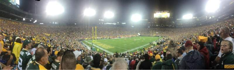 Seating view for Lambeau Field Section 108 Row 34 Seat 21