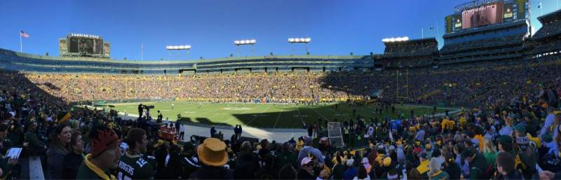 Seating view for Lambeau Field Section 122 Row 13 Seat 22