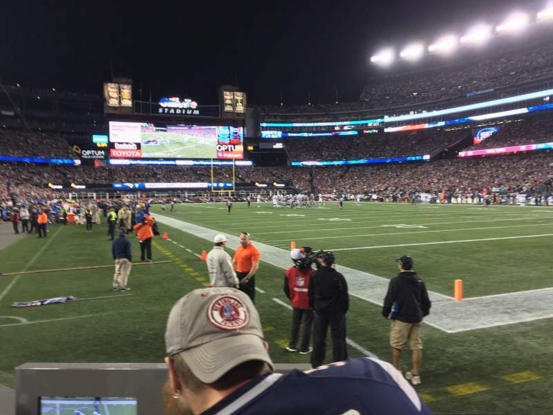 Seating view for Gillette Stadium Section 102 Row 2 Seat 1