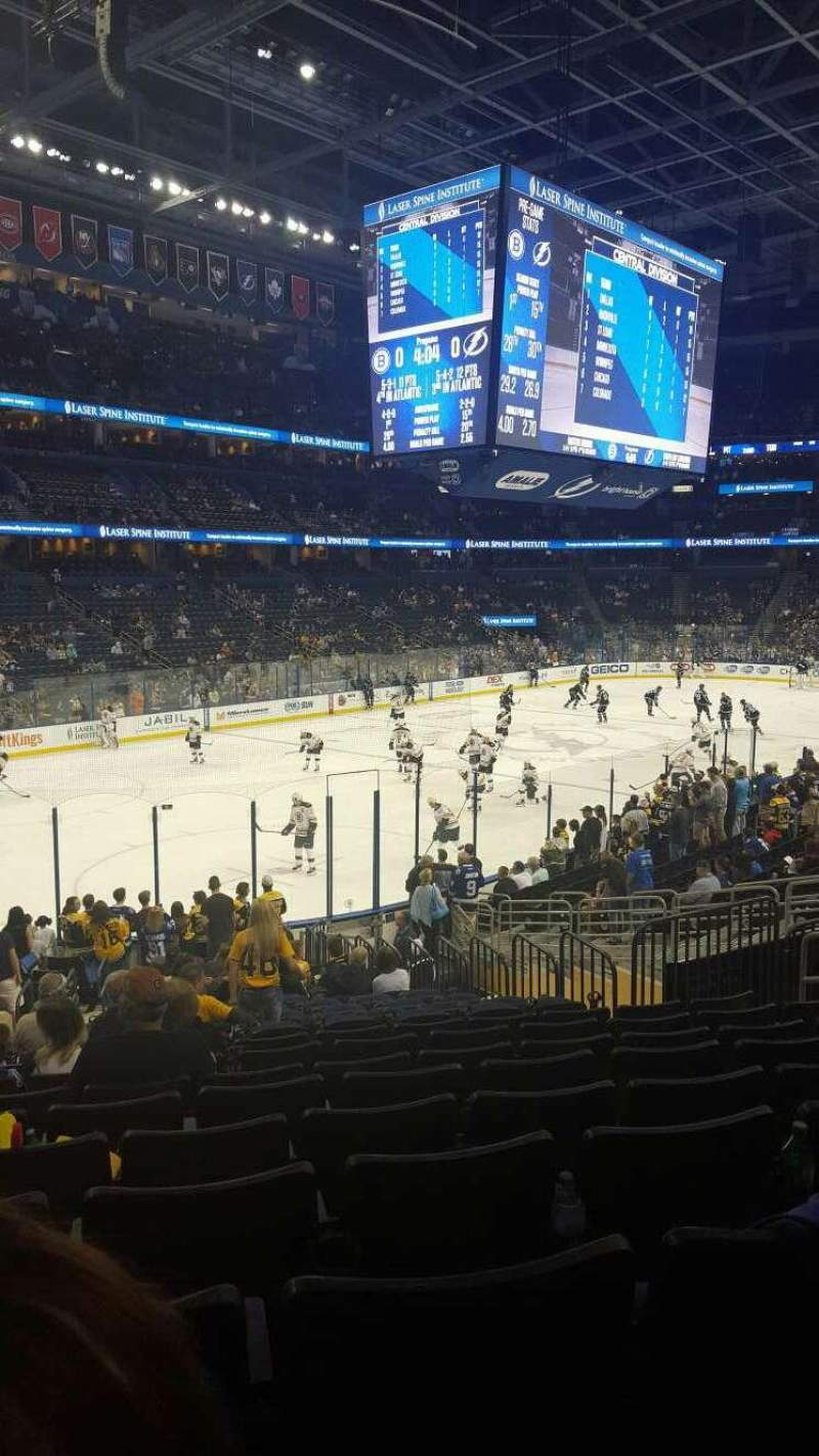 Seating view for Amalie Arena Section 104 Row X Seat 27