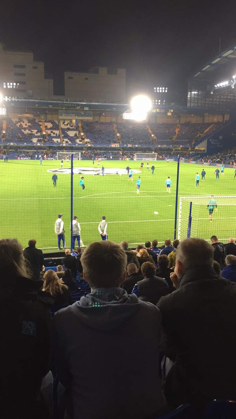 Seating view for Stamford Bridge Section Mathew Harding lower block 13 Row W Seat 106