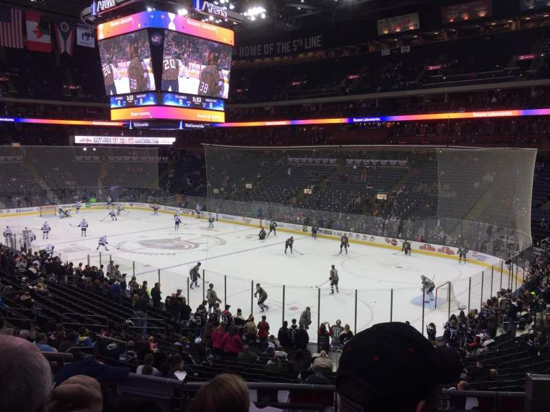 Seating view for Nationwide Arena Section 101 Row DD Seat 3