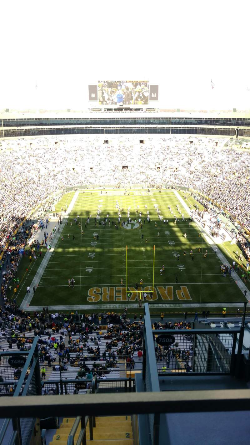 Seating view for Lambeau Field Section 750s Row 7 Seat 3