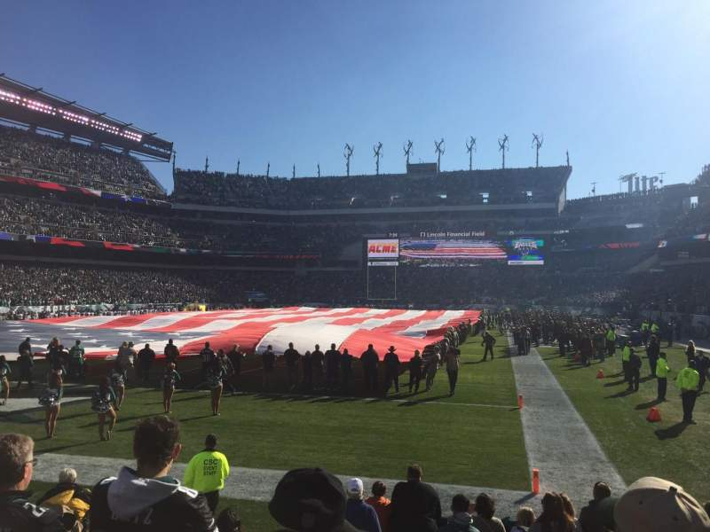 Seating view for Lincoln Financial Field Section 131 Row 4 Seat 1
