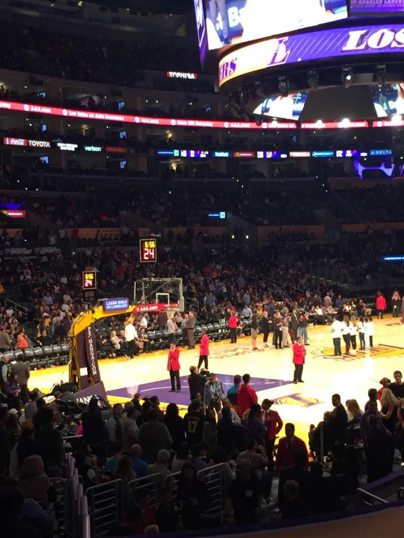 Seating view for Staples Center Section 105 Row 16 Seat 2