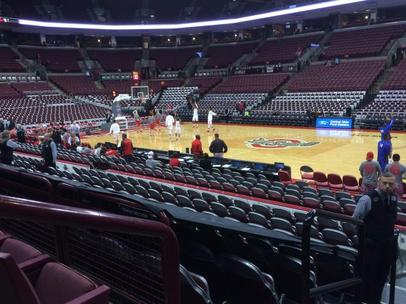 Seating view for Value city arena Section 104 Row M Seat 20