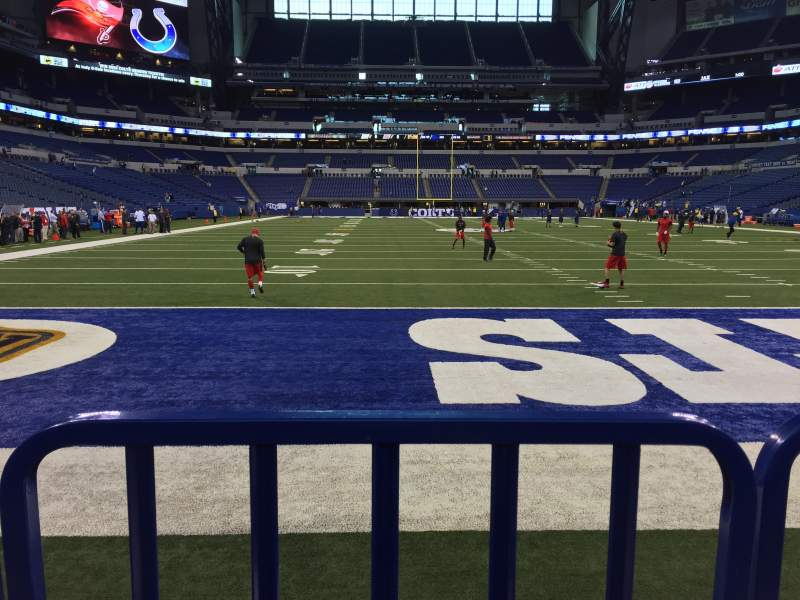Seating view for Lucas Oil Stadium Section 101 Row 3 Seat 16