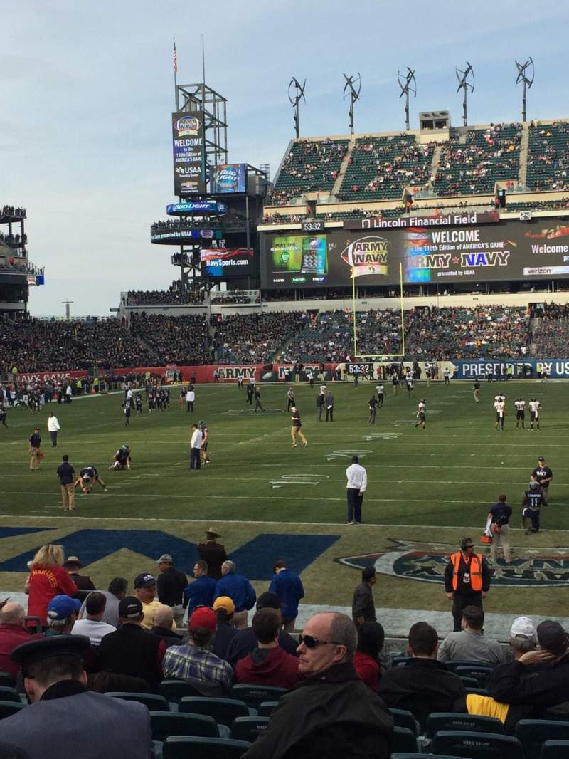 Seating view for Lincoln Financial Field Section 112 Row 14 Seat 10