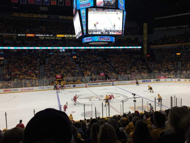 Seating view for Bridgestone Arena Section 105 Row H Seat 14