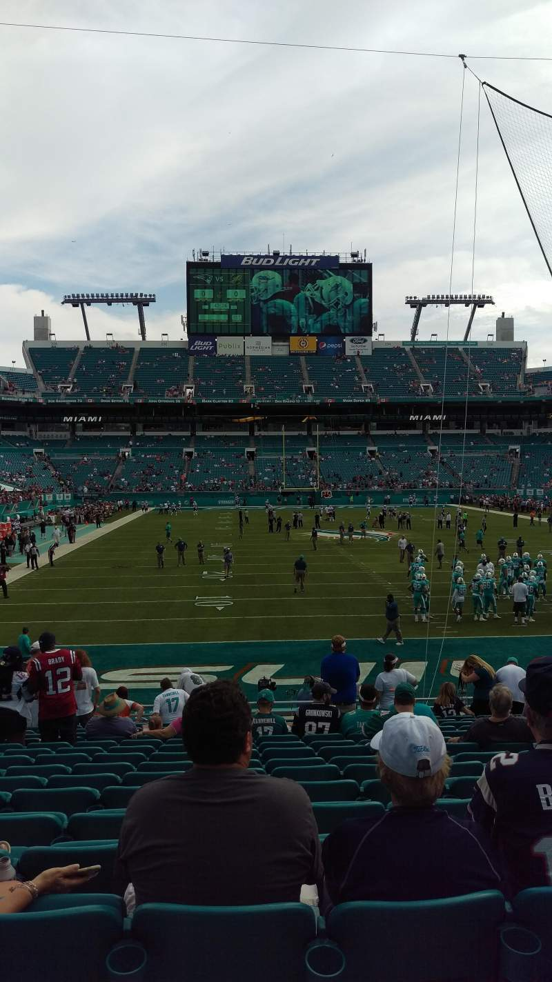 Seating view for Hard Rock Stadium Section 105 Row 17 Seat 14