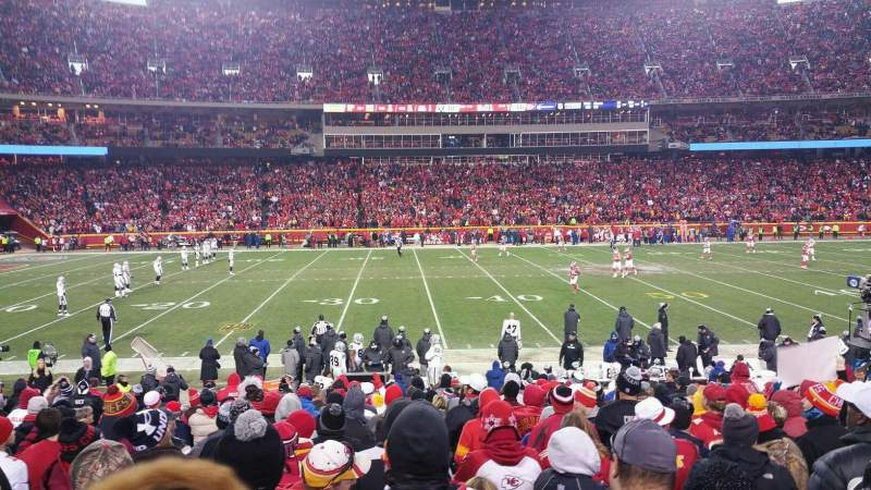 Seating view for Arrowhead Stadium Section 102 Row 17 Seat 18