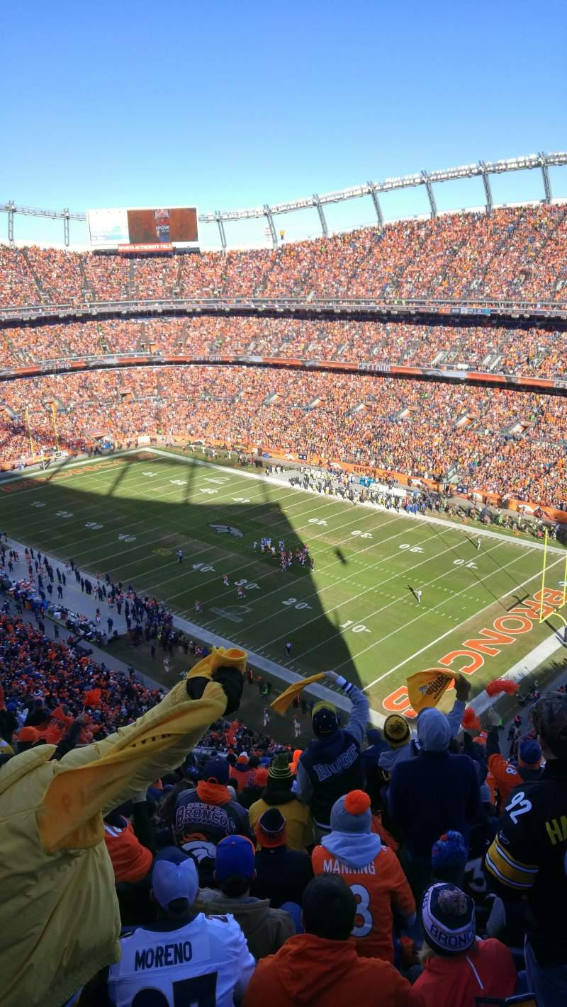 Seating view for Sports Authority Field at Mile High Section 501 Row 20 Seat 16