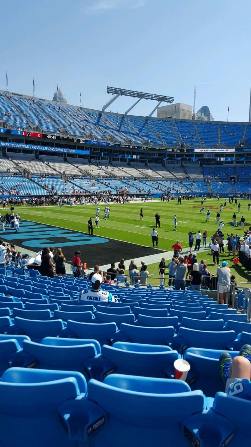 Seating view for Bank of America Stadium Section 138 Row 15 Seat 3-4