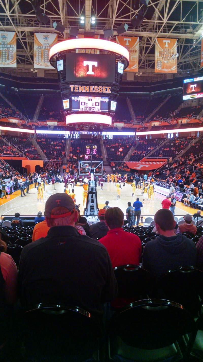 Seating view for Thompson-Boling Arena Section 113 Row 12
