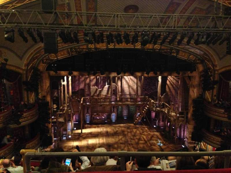 Seating view for Richard Rodgers Theatre Section Rear Mezzanine Center Row 1 Seat 113
