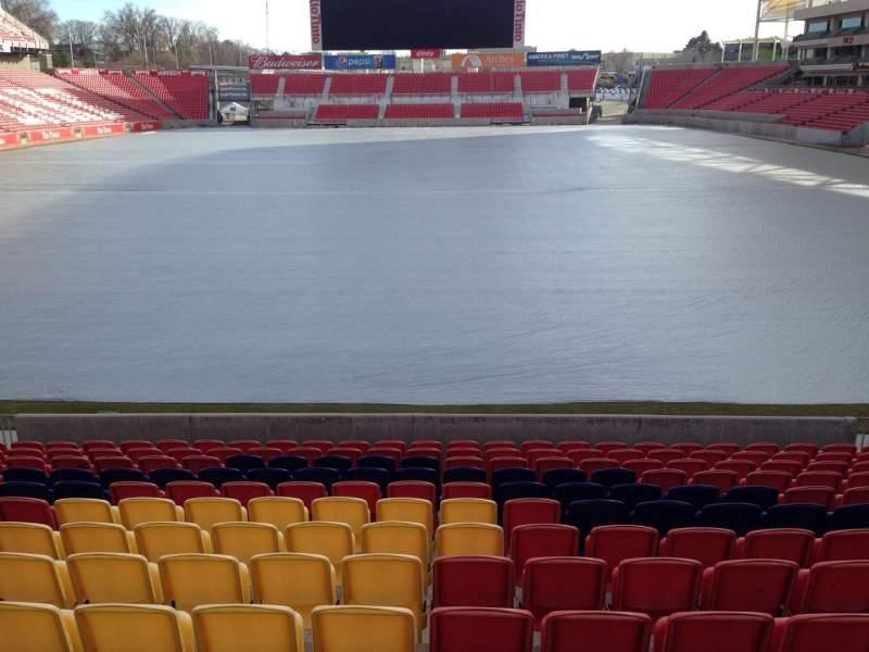 Seating view for Rio Tinto Stadium Section 28 Row p Seat 11