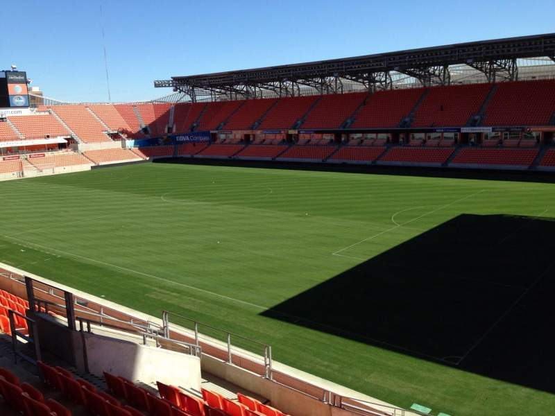 Seating view for BBVA Compass Stadium Section 202 Row J Seat 13