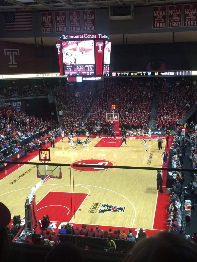 Seating view for Liacouras Center Section 207 Row D Seat 12