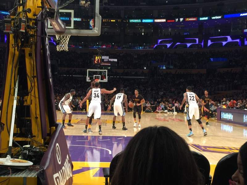 Seating view for Staples Center Section 106 Row B Seat 1-2