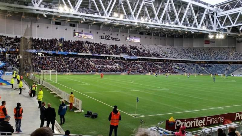 Seating view for Tele2 Arena Section A222 Row 10 Seat 50