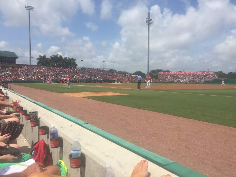Seating view for Roger Dean Stadium Section 103 Row 1 Seat 12