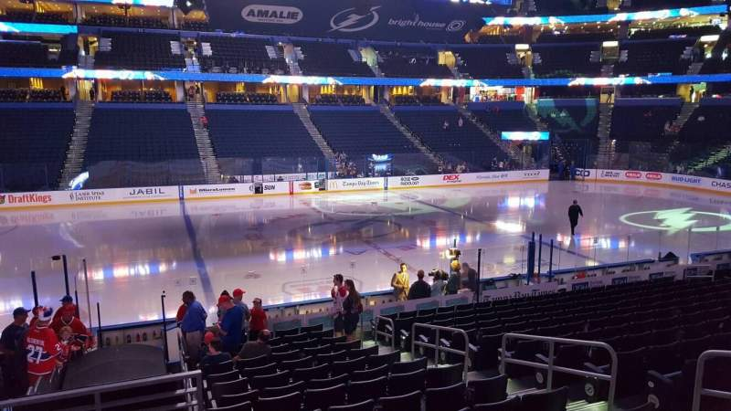 Seating view for Amalie Arena Section 102 Row T Seat 7