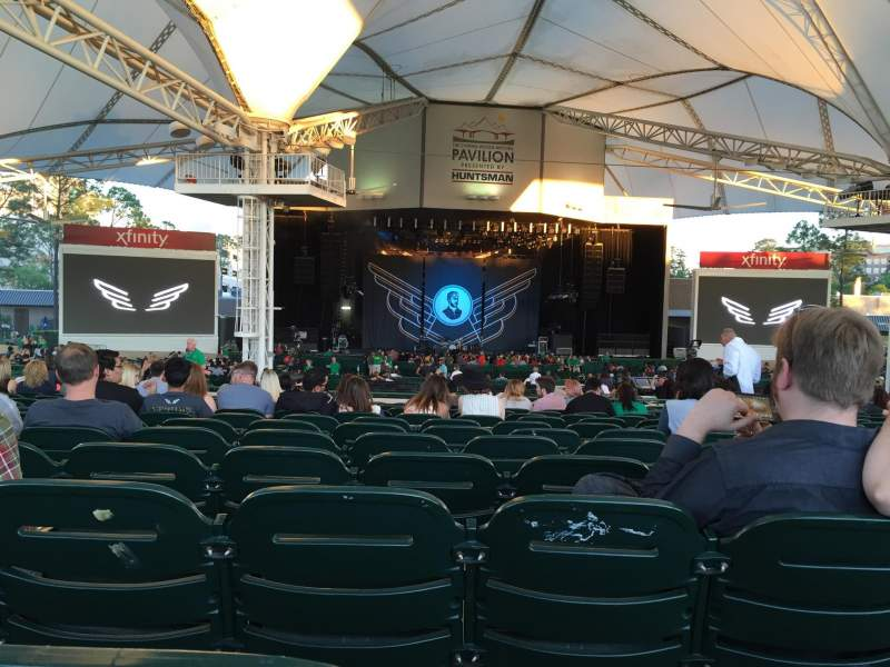 Seating view for Cynthia Woods Mitchell Pavilion Section 107 Row Q Seat 20