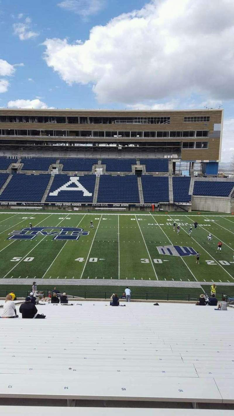 Seating view for Maverik Stadium Section 14 Row 39 Seat 15