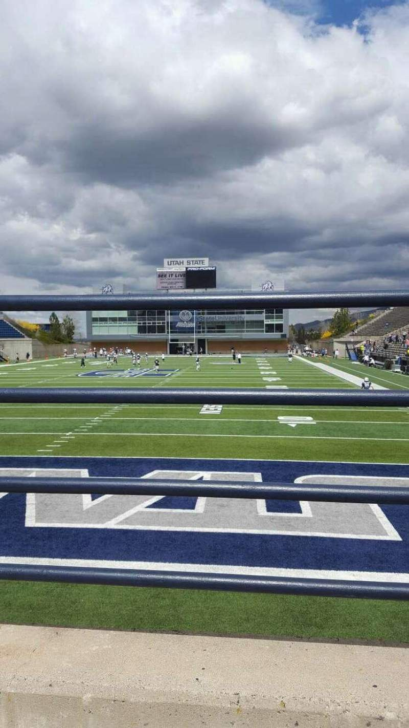 Seating view for Maverik Stadium Section d Row 1 Seat 18