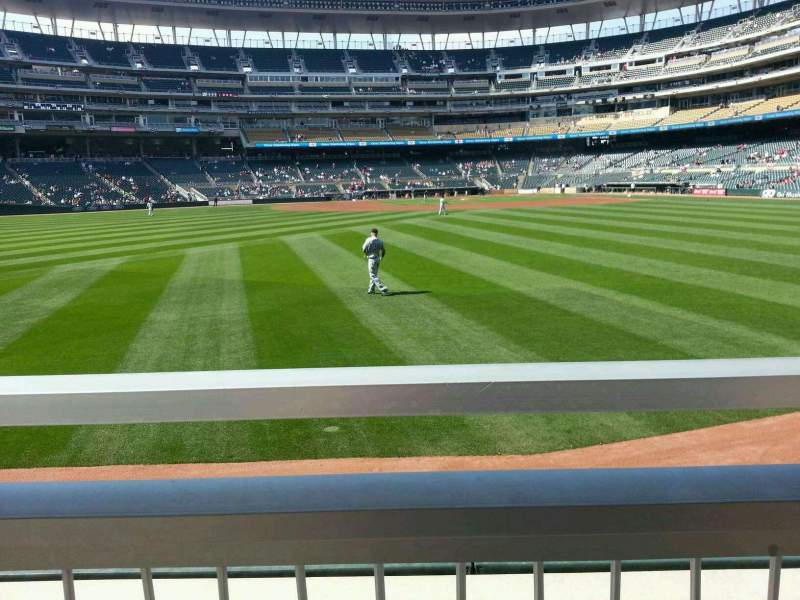 Seating view for Target Field Section 131 Row 1 Seat 1&2